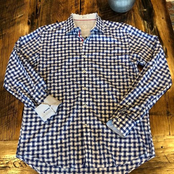 Bugatchi Other - Bugatchi Button Up Flip Cuff Plaid Shirt Medium